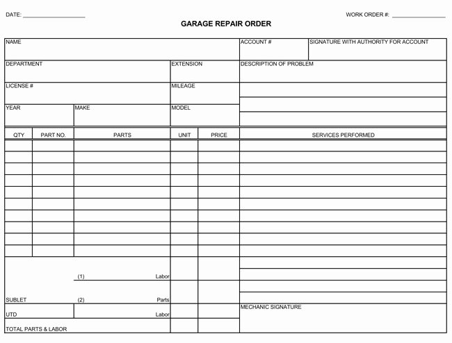 Auto Repair Invoice Template Free New Auto Repair Invoice Templates 10 Printable and Fillable