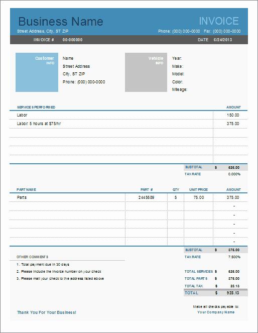Auto Repair Invoice Template Word Beautiful Auto Repair Invoice Template for Excel