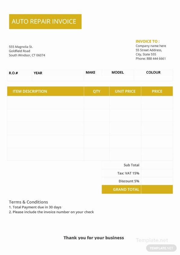 Auto Repair Invoice Template Word Elegant Auto Repair Invoice Template In Microsoft Word Excel