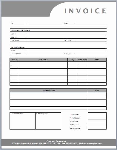 Auto Repair Invoice Template Word Elegant Auto Repair Invoice Template Templates