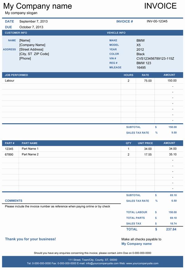 Auto Repair Invoice Template Word Fresh Auto Repair Invoice Template Excel