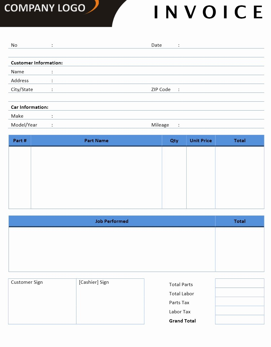 Auto Repair Invoice Template Word Fresh Invoice Templates – Microsoft and Open Fice Templates
