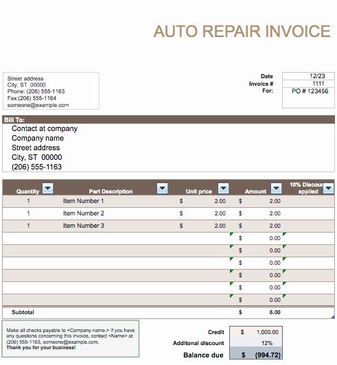 Auto Repair Invoice Template Word Luxury Auto Repair Invoice Template Word