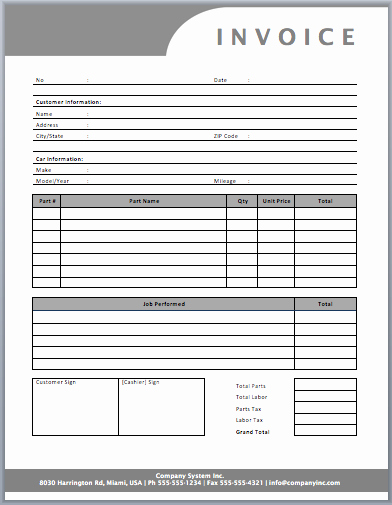 Auto Repair Template Free Awesome Auto Repair Invoice Template Templates