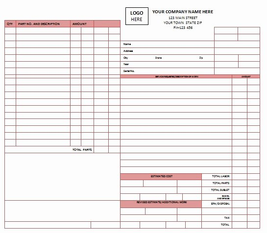 Auto Repair Template Free Awesome Blank Auto Repair Invoice