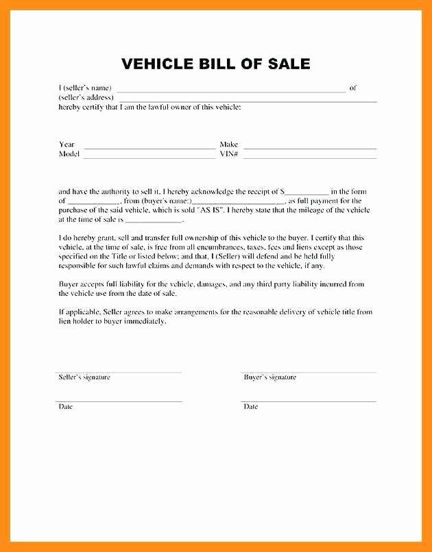 Automobile Sale Contract Template Elegant 11 12 Bill Of Sale Ontario Template