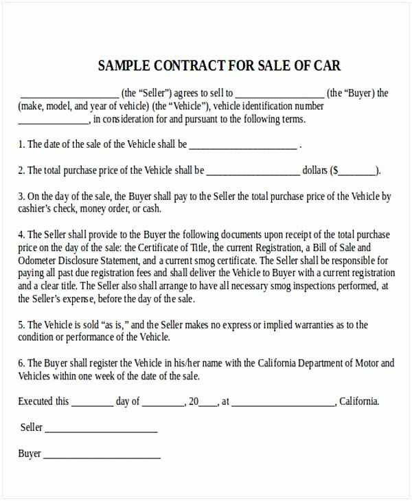 Automobile Sales Contract Templates Awesome Car Sale Contract