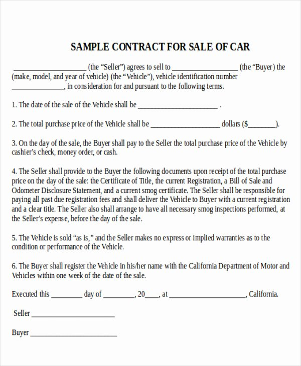 Automobile Sales Contract Templates Awesome Sample Used Car Sale Contract 7 Examples In Word Pdf
