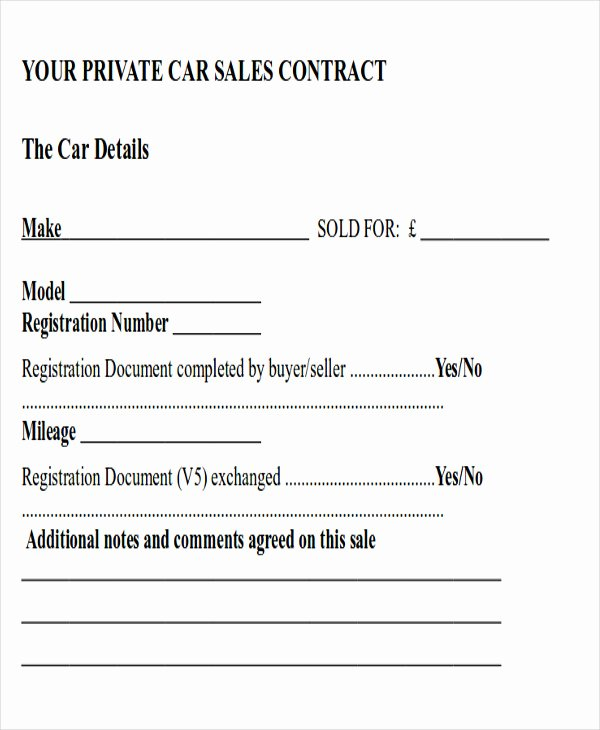 Automobile Sales Contract Templates Best Of Sample Contract Sale Used Car