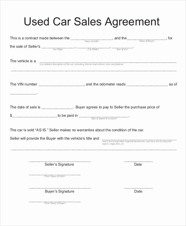 Automobile Sales Contract Templates Best Of Sample Vehicle Sales Contract 11 Examples In Word Pdf