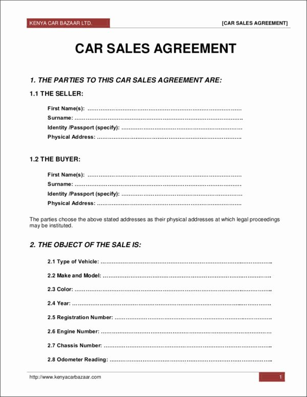 Automobile Sales Contract Templates New 25 Sales Contract Template Docs Word