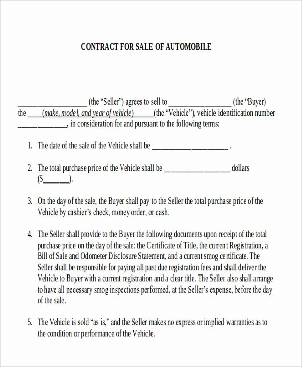 Automobile Sales Contract Templates New Sample Automobile Sales Contracts 9 Examples In Word Pdf