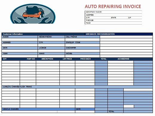 Automotive Repair Invoice Template Best Of Auto Repair Invoice Template