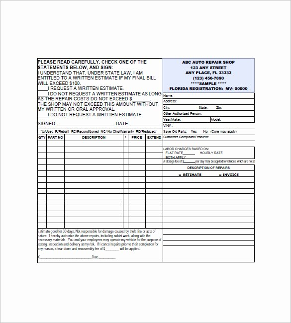 Automotive Repair Invoice Template Lovely Auto Repair Invoice Templates