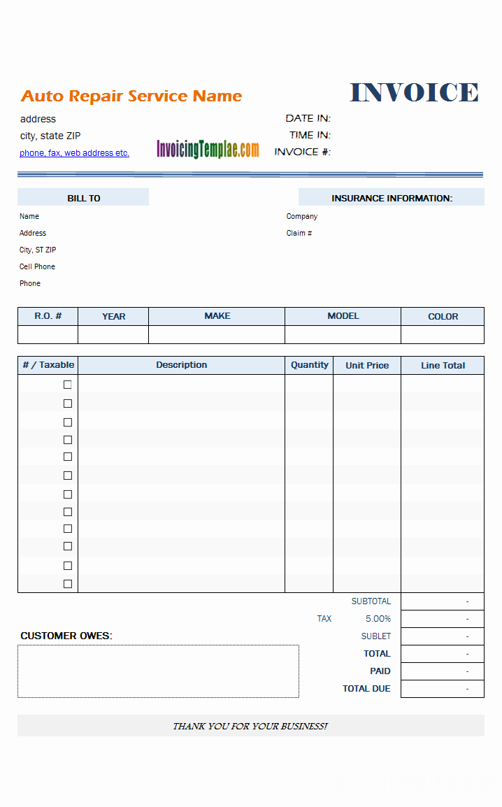 Automotive Repair Invoice Template Lovely Automotive Repair Invoice Template