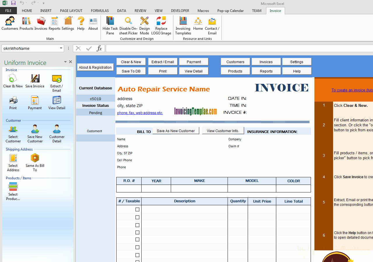 Automotive Repair Invoice Templates Best Of Auto Repair Invoice software Free Download