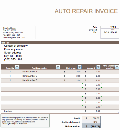 Automotive Repair Invoice Templates Best Of Auto Repair Invoice Template Word
