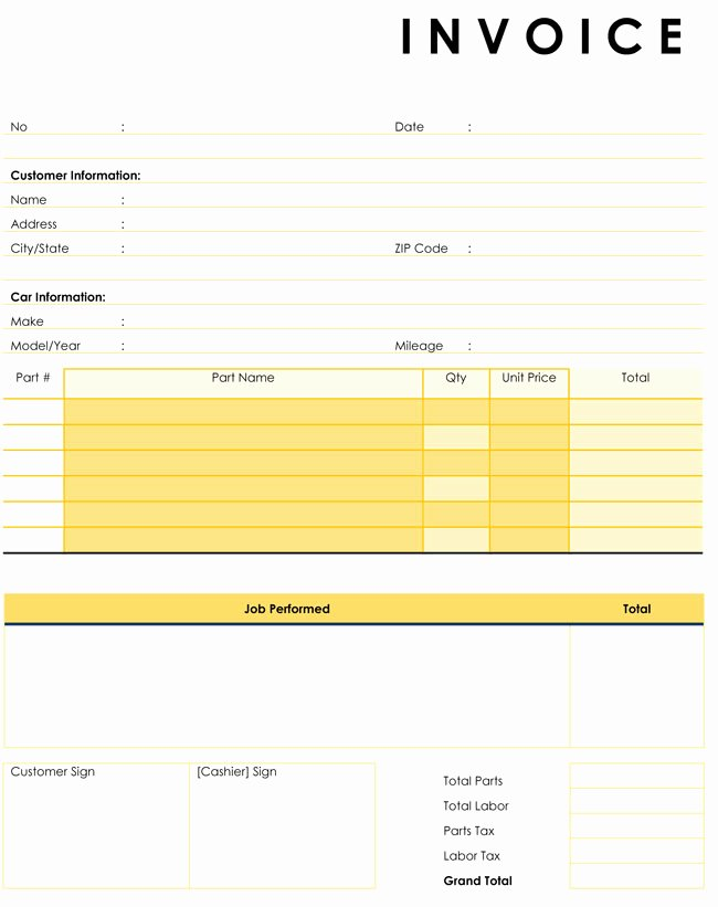 Automotive Repair Invoice Templates Elegant Auto Repair Invoice Templates 10 Printable and Fillable