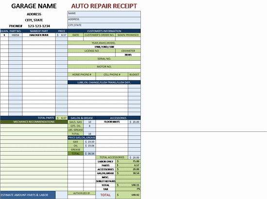 Automotive Repair Invoice Templates Fresh Auto Repair Invoice for A Garage with Tax