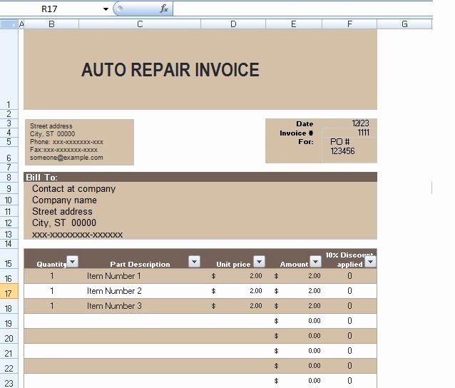 Automotive Repair Invoice Templates Fresh Auto Repair Invoice Template In Excel format