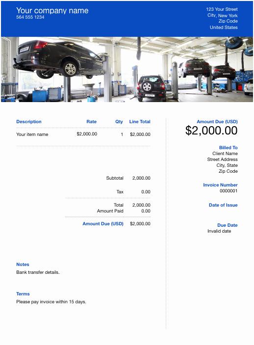 Automotive Repair Invoice Templates Inspirational Free Auto Repair Invoice Template Download now