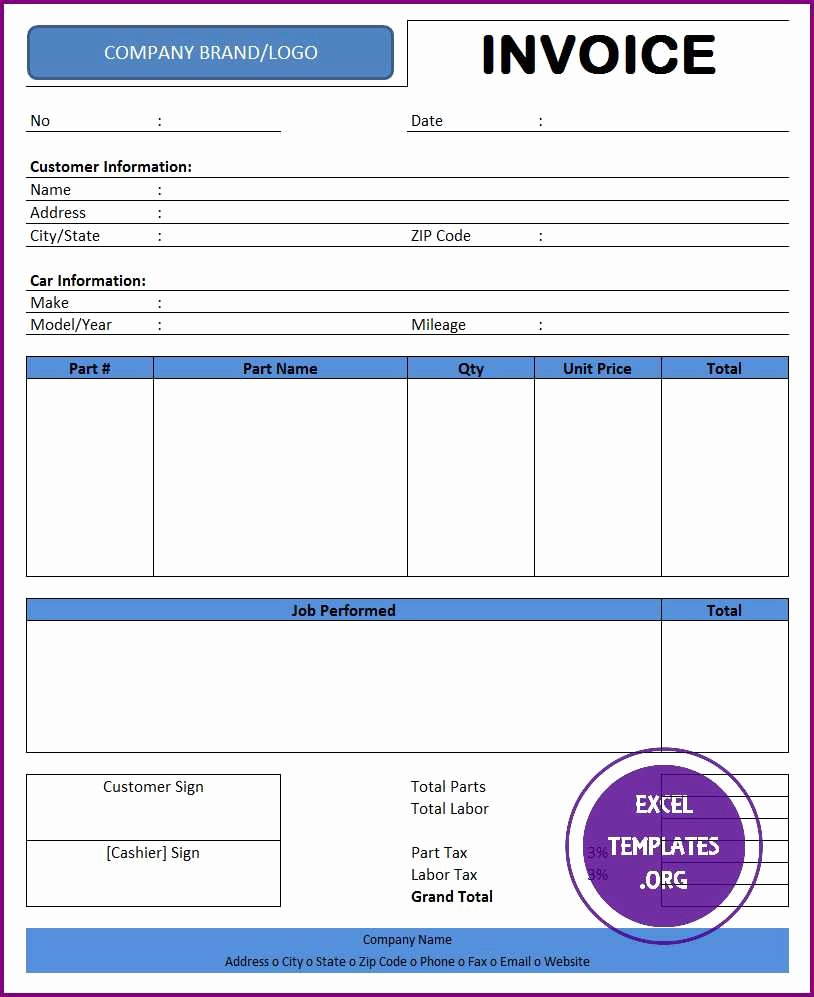 Automotive Repair Invoice Templates Lovely Auto Repair Invoice Template Excel Templates