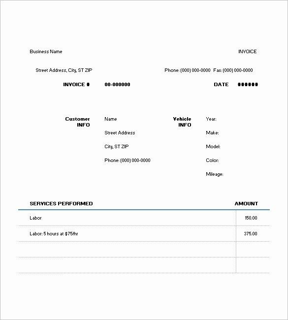 Automotive Repair Invoice Templates Luxury 6 Auto Repair Invoice Template