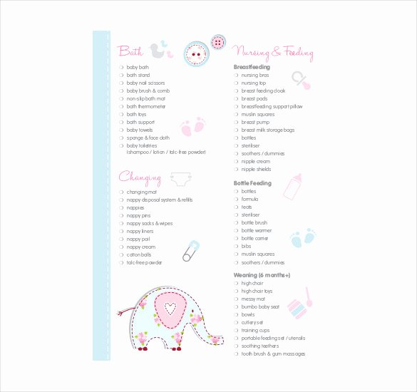 Baby Shower Checklist Template Awesome Baby Registry Checklist Template 16 Free Word Excel