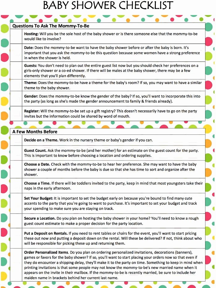 Baby Shower Checklist Template Awesome Baby Shower Checklist Free Printable Moms & Munchkins