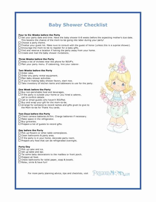 Baby Shower Checklist Template Beautiful the Checklist Of Baby Shower Planning Guide