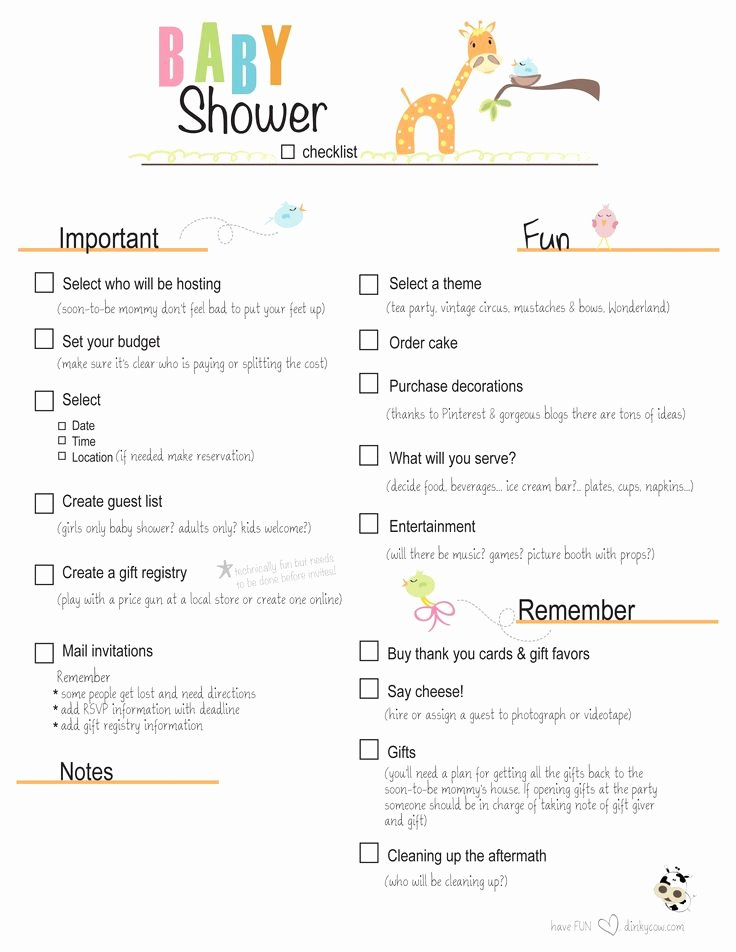 Baby Shower Checklist Template Best Of Free Printable Baby Shower Checklist