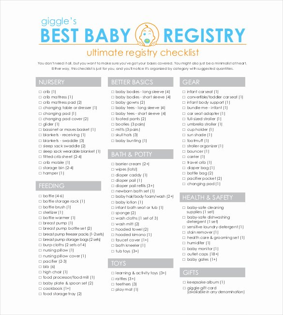 Baby Shower Checklist Template New Baby Registry Checklist