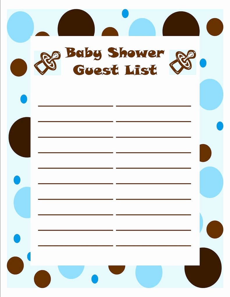Baby Shower Checklist Template Unique Template Of Baby Shower Guessing Game and Guest List