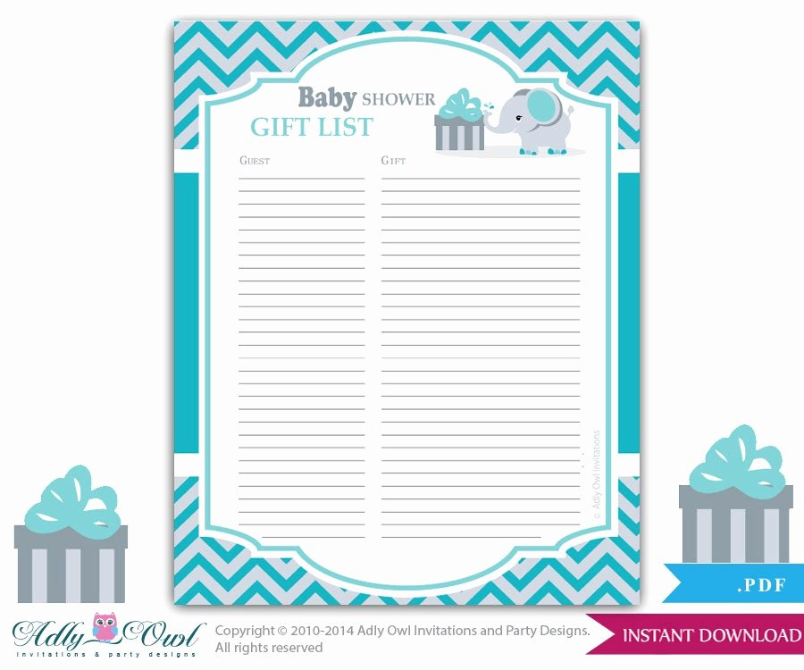 Baby Shower Guest List Template Awesome Boy Elephant Guest Gift List Guest Sign In Sheet Card for