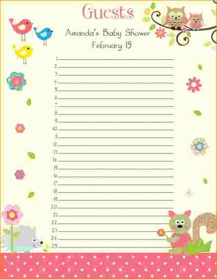 Baby Shower Guest List Template Best Of 3 Baby Shower Guest List