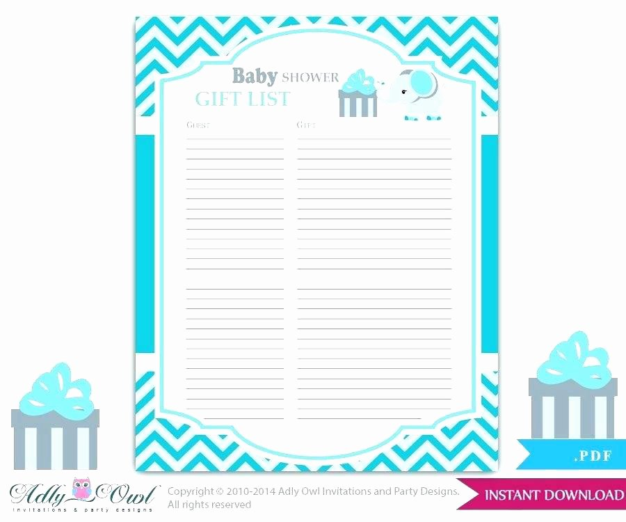 Baby Shower Guest List Template Lovely Baby Shower T Lists – Jwaydesinz