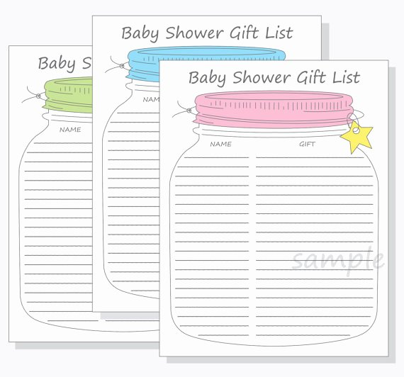 Baby Shower Guest List Template New Baby Shower Guest Gift List Printable Diy Mason Jar Design