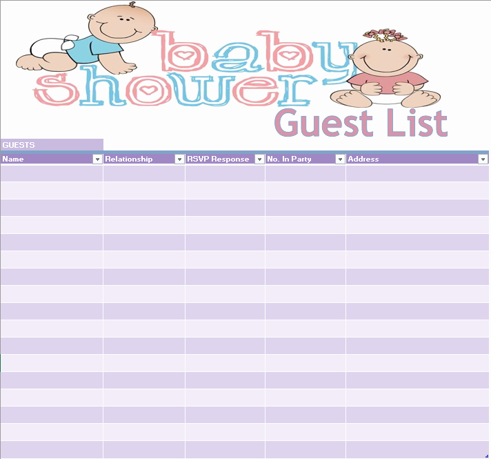 Baby Shower Guest List Template Unique 17 Free Baby Shower Guest List Templates Ms Fice