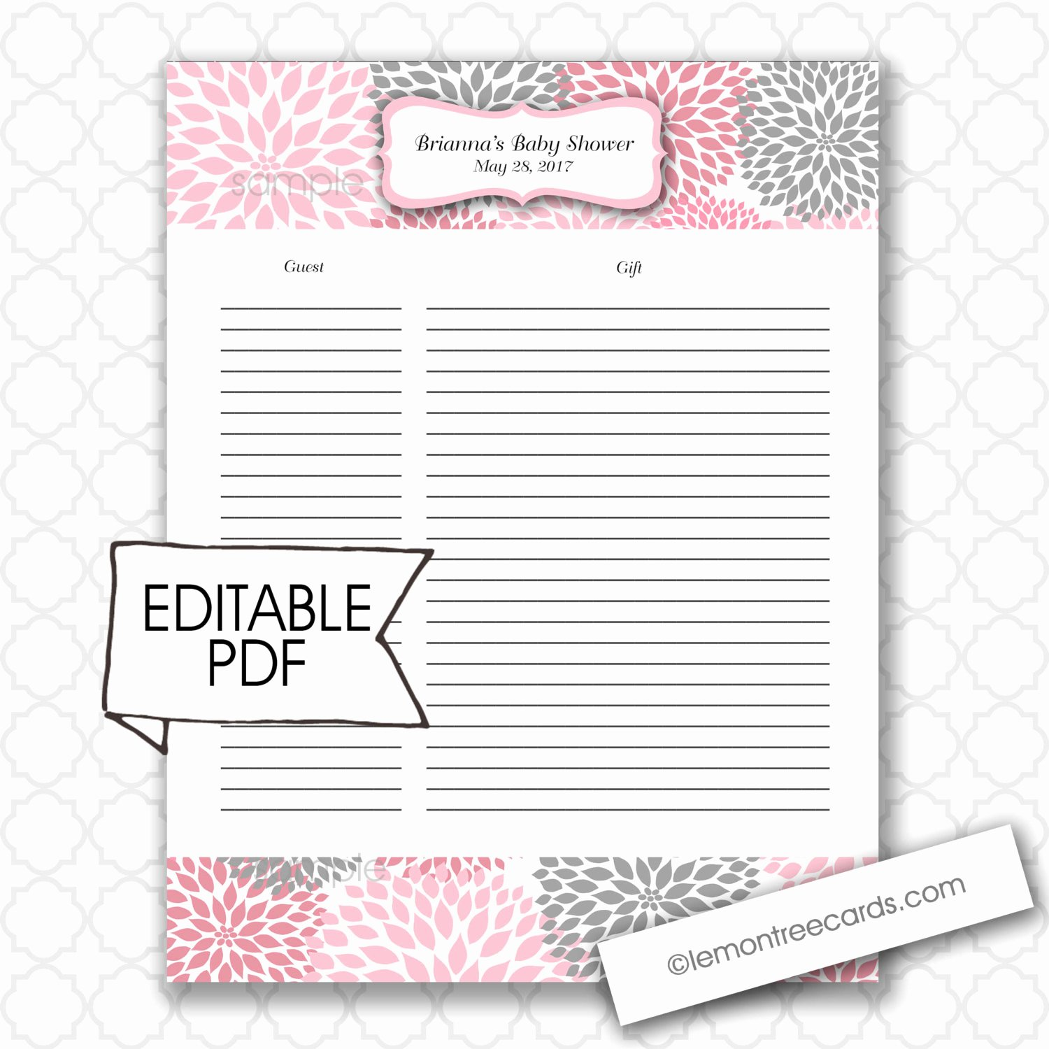 Baby Shower Guest List Template Unique Editable Baby Shower Gift List and Guest List Girl Baby
