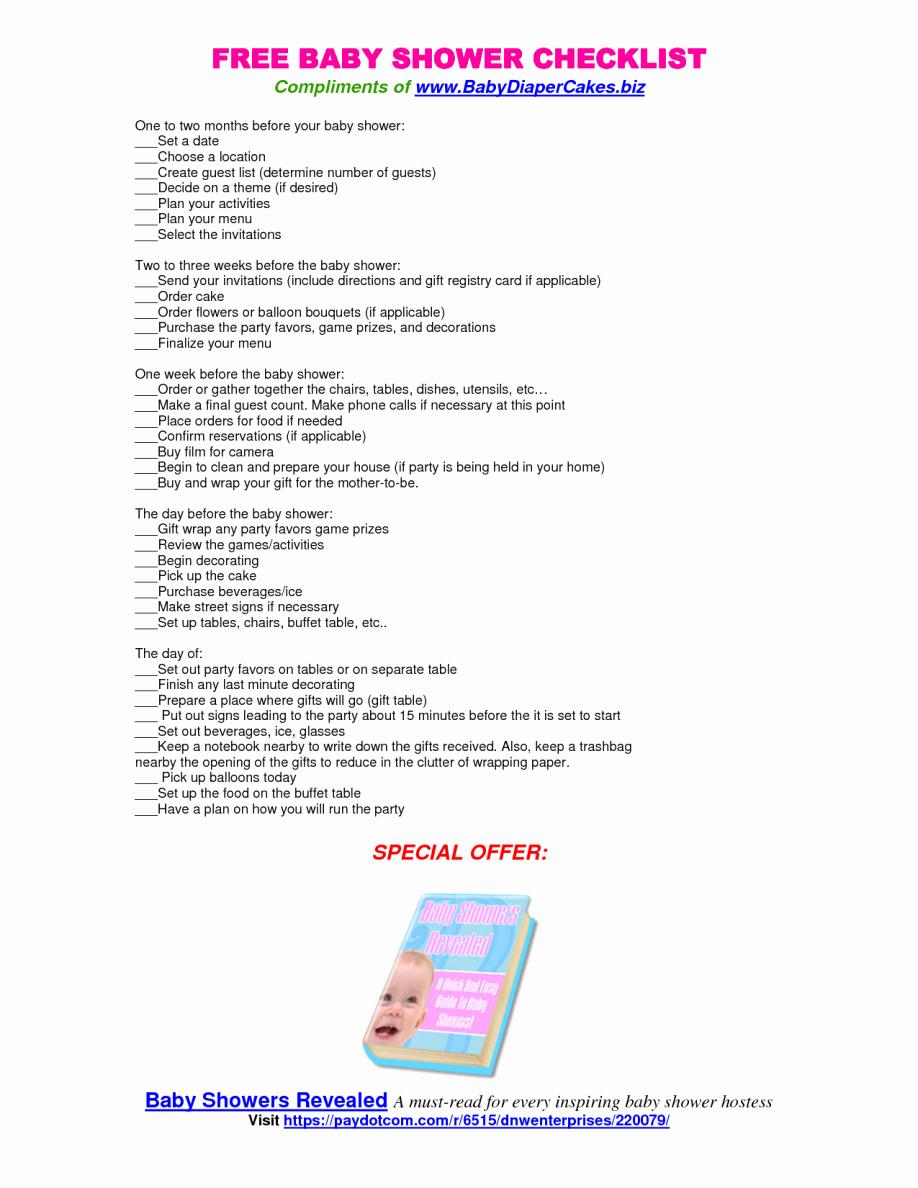 Baby Shower Planner Template Best Of Baby Shower Planning Checklist Printable Martha Stewart