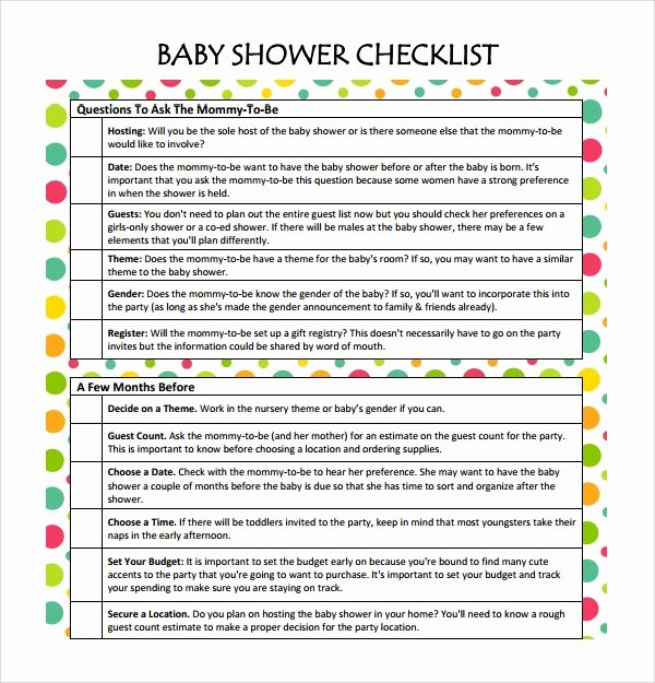 Baby Shower Planner Template Elegant Sample Checklist 13 Documents In Pdf Word