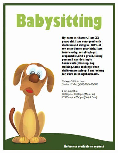 Babysitter Flyer Template Microsoft Word Lovely Babysitting Flyers and Ideas [16 Free Templates]