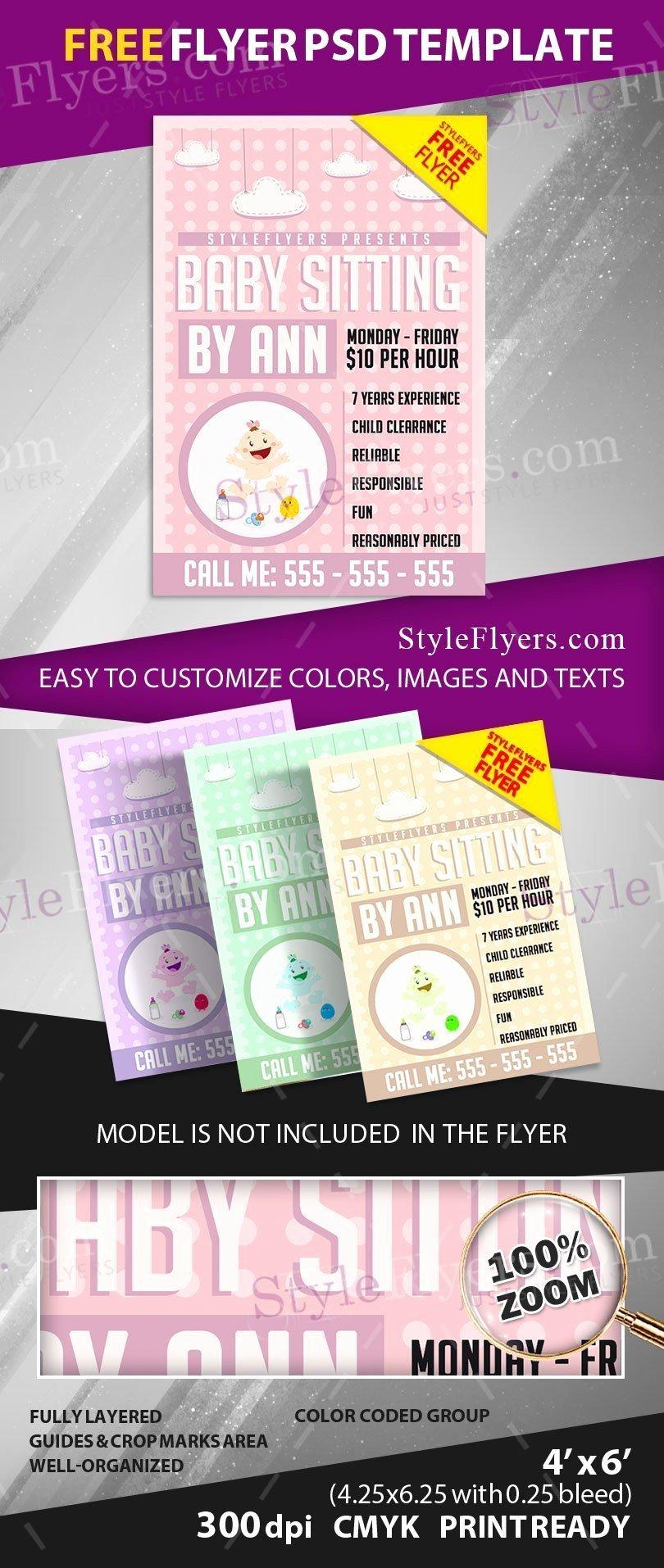 Babysitter Flyer Template Microsoft Word Lovely Babysitting Free Psd Flyer Template Free Download