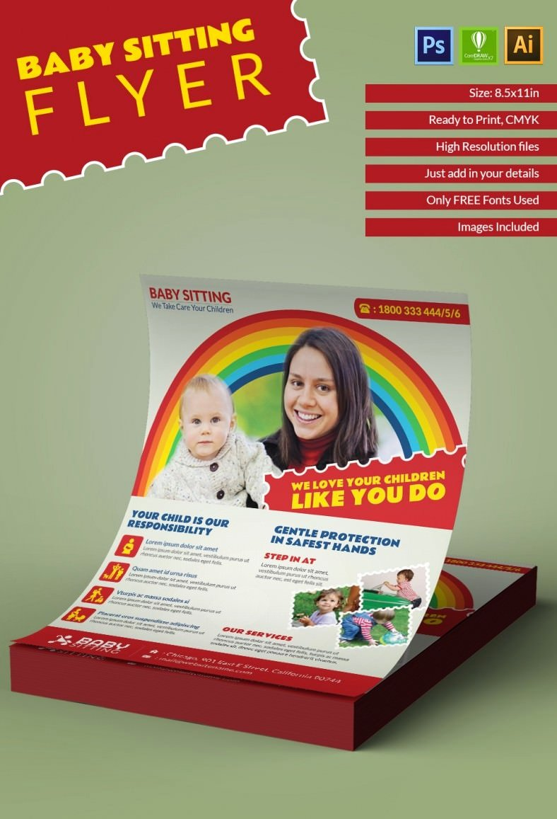Babysitter Flyer Template Microsoft Word New 10 Fabulous Psd Baby Sitting Flyer Templates