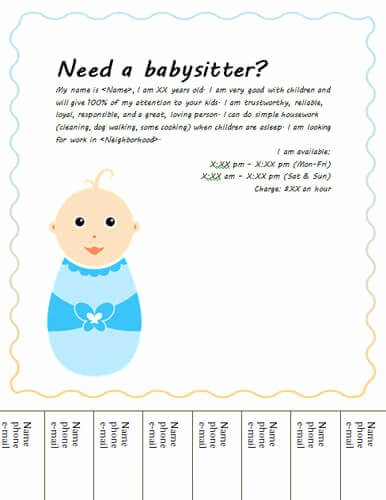 Babysitter Flyer Template Microsoft Word New Babysitting Flyers and Ideas [16 Free Templates]