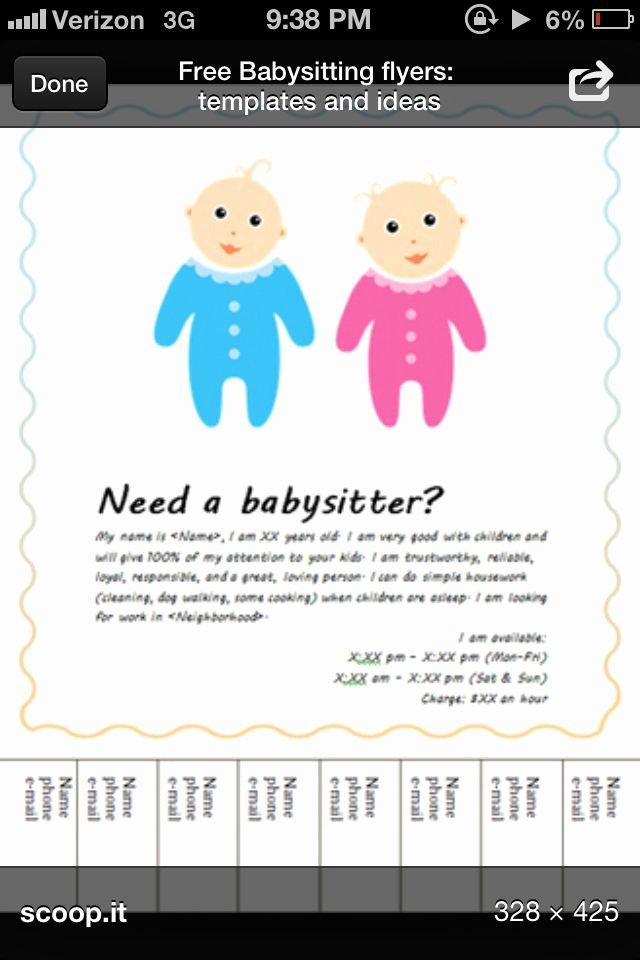 Babysitter Flyer Template Microsoft Word Unique Babysitting Flyer Template Babysiting