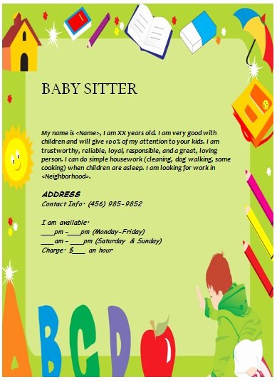 Babysitting Flyer Template Free Awesome Babysitting Flyers Examples