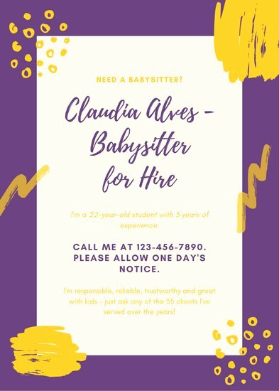 Babysitting Flyer Template Free Best Of Customize 11 Babysitting Flyer Templates Online Canva
