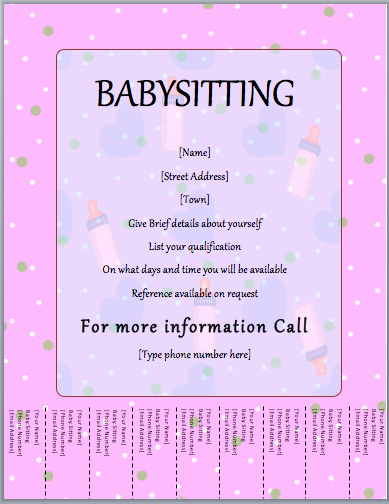 Babysitting Flyer Template Free Elegant Babysitter Flyer Template Tear F Word Templates
