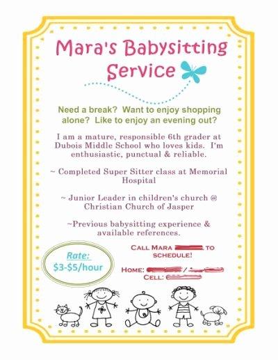 Babysitting Flyer Template Free Elegant Babysitting Flyer Using Mds Baby Sitting